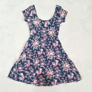 Cute Dark Blue and Pink Floral Dress