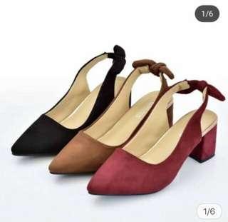 Pointed Toe Tie Block Heels