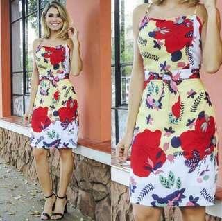 SALE! US Style Classy Floral Dress (FS; Stretch, fits S - Semi L, fits 24 - 29 w)