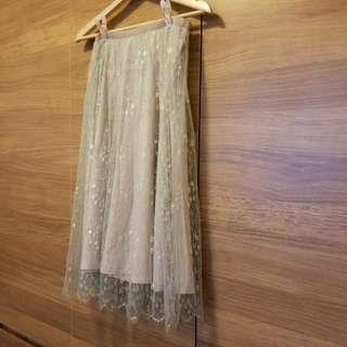 J.CREW 半身裙 Mint+Beige Lace Skirt