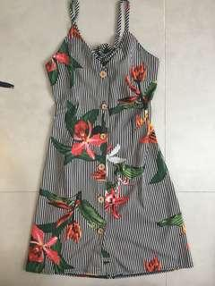 NEW Striped Tie Back Floral Dress #STB50