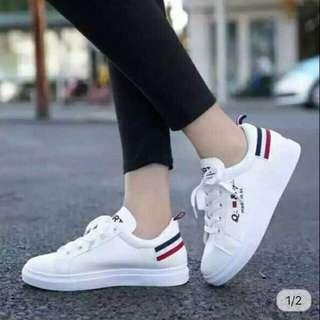 Striped White Sneakers