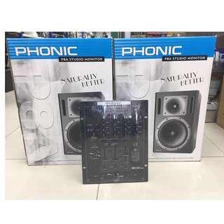 PHONIC P8A Studio Monitor + MX300USB 3-Channel DJ Mixer with USB Playback
