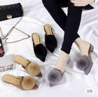 Puffy Pom Pom Slip On Sandals in Brown/Black/Grey/Red/Pink