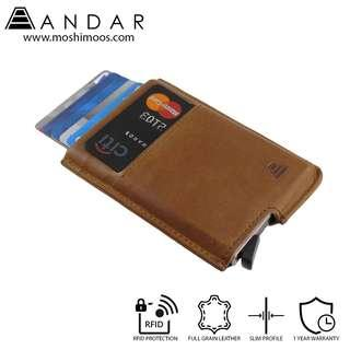 Best Selling Minimalist Card Holder Slim Wallet RFID blocking - Andar Pilot in Tan(Brown)