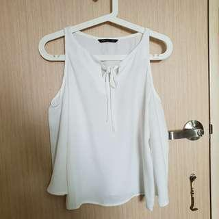 🚚 White Chiffon Top With Bell Sleeves