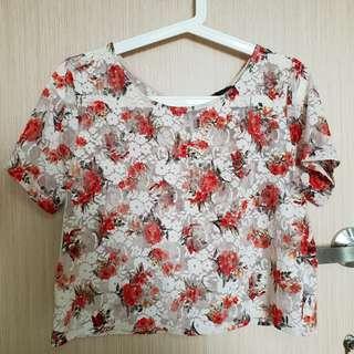 🚚 Topshop Floral Mesh Crop Top