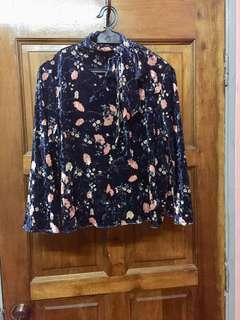 BYSI Velvet Bow neck blouse
