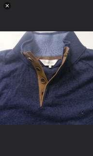cacharel Men's Knit Mock Neck Elbow Patches 100%纯棉男裝線衫