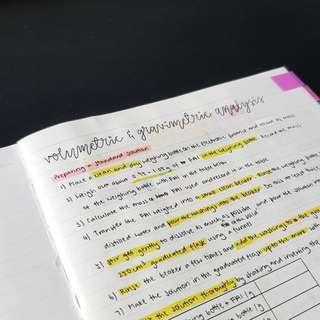 Chem Planning Notes