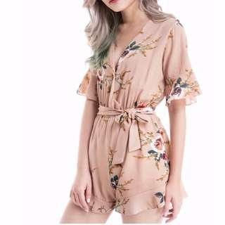 Nude Peach Floral Romper with belt
