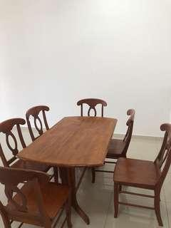 Solid wood dinner table with chair