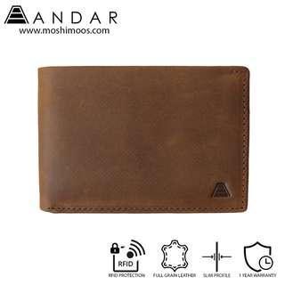Minimalist Slim Wallet RFID blocking - Andar Ambassador in Saddle Brown