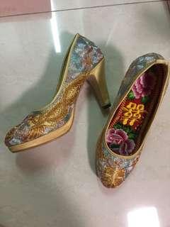 結婚用品 7cm褂鞋 手工金線褂鞋
