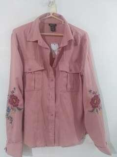 Old Rose Colored Long Sleeves Top