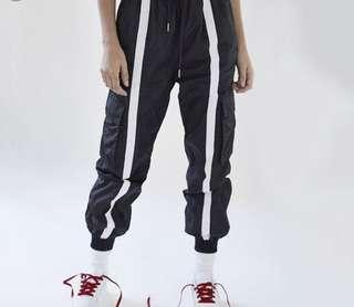 🚚 Black Jogger Pants with Reflective Stripes