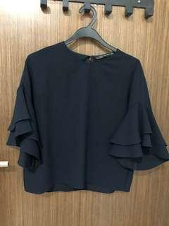 Zara Navy blue cropped top fluffy sleeve
