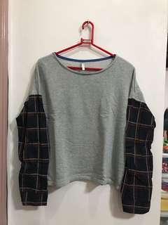 Gray w/ Plaid Sleeves Sweater