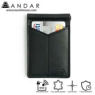 🚚 Minimalist Slim Wallet RFID blocking - Andar Baron in Black