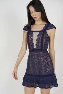 🚚 MDS Lace Mesh Dress in Midnight