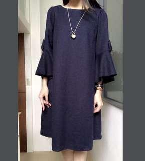 全新 日本品牌 Couture Brooch 深藍色毛料洋裝