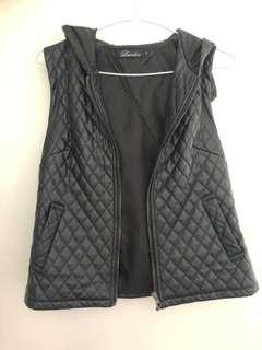 Leather hooded vest