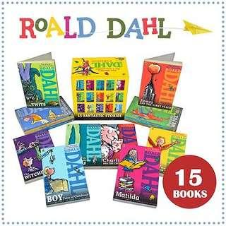 【15 Books】Roald Dahl Story Books Box Set Collection Kids Reading Education Book
