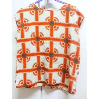 Orange Printed Abstract Blouse Top
