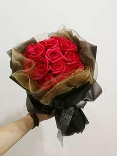 Red Rose Soap Flower Bouquet