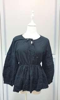Babydoll Top With Embroidery in Black