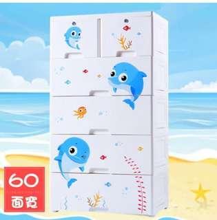 藍色小海豚五層衣物抽屜收納櫃四大二小抽$2480免運