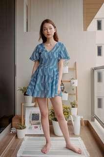 🚚 Thread Theory Palm Whisperer Romper Dress (Blue)