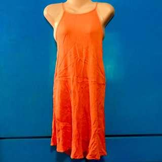 Orange Halter Summer Dress