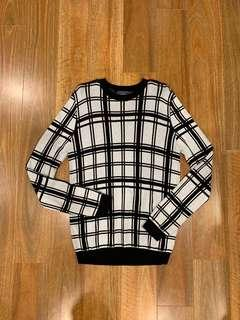 Topman Black and White Panel Knit