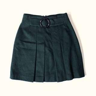 義大利製 D&G 墨綠羊毛百摺短裙 Dolce & Gabbana