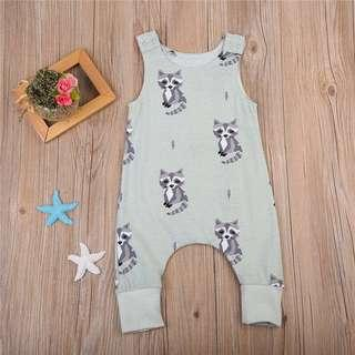 🚚 Mint Green Raccoon Animal Romper