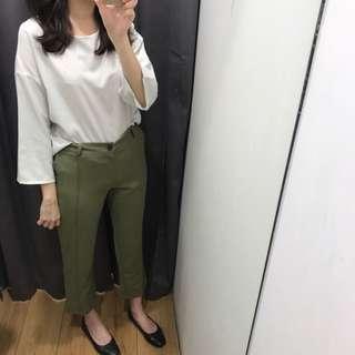 全新綠色修身長褲
