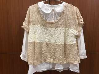 🚚 森林系 奶茶針織外搭+小清新白襯衫