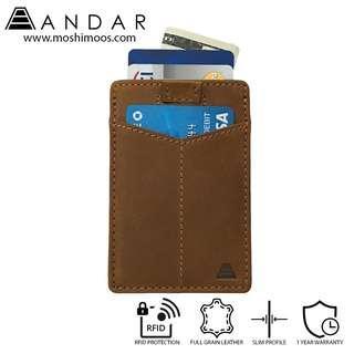 Minimalist Slim Wallet RFID blocking - Andar Monarch in Saddle Brown