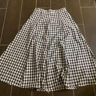 [2 for $20] Black and White Checkered Midi Skirt