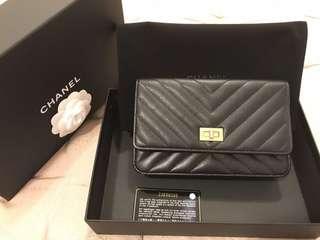 Chanel woc 小羊皮山形紋 手拿包