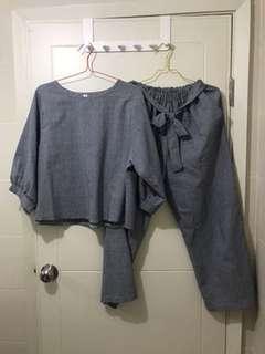 HARGA NET - set gingham top & pants