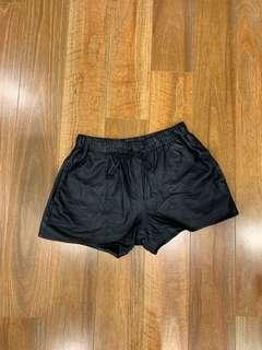 MAID The Label Black Lambskin Leather Shorts