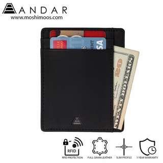 Minimalist Card Holder Slim Wallet RFID blocking - Andar Scout in Black