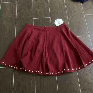 [2 for $10] Maroon / Wine Red Skater Skirt w pearls