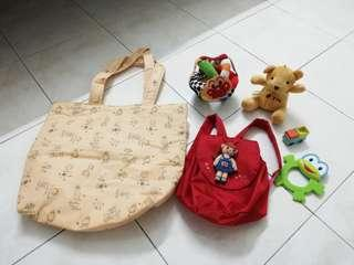 Mother bag, baby bag and assorted baby toys