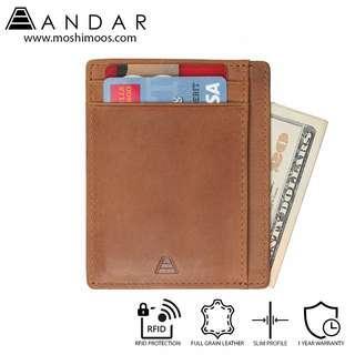 Minimalist Card Holder Slim Wallet RFID blocking - Andar Scout in Tan (Brown)