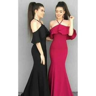 Maxi dress violet long dress pesta dress panjang polos dress sabrina polos dress party dress bodycon