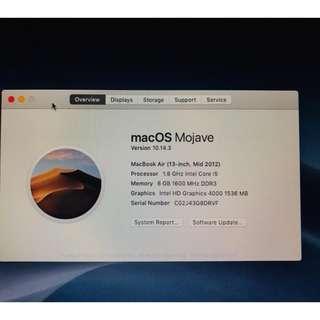 Apple Macbook Air 13 inch Mid 2012