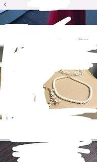 珍珠項鍊及閃石手錬
